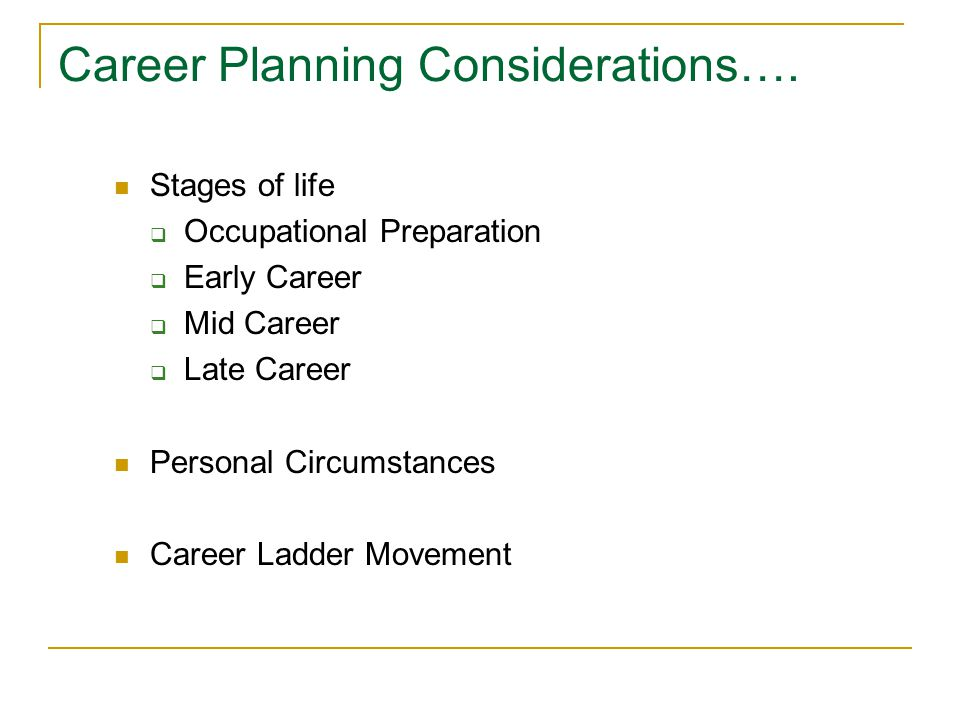 Career Planning Considerations…. Stages of life  Occupational Preparation  Early Career  Mid Career  Late Career Personal Circumstances Career Lad