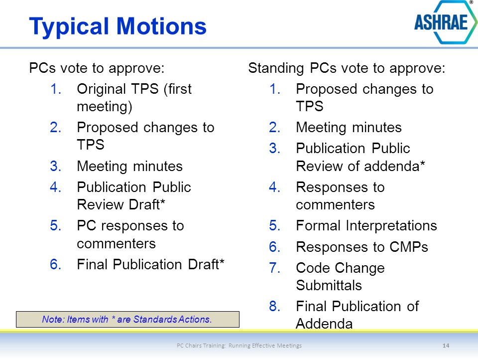 Typical Motions PCs vote to approve: 1.Original TPS (first meeting) 2.Proposed changes to TPS 3.Meeting minutes 4.Publication Public Review Draft* 5.P