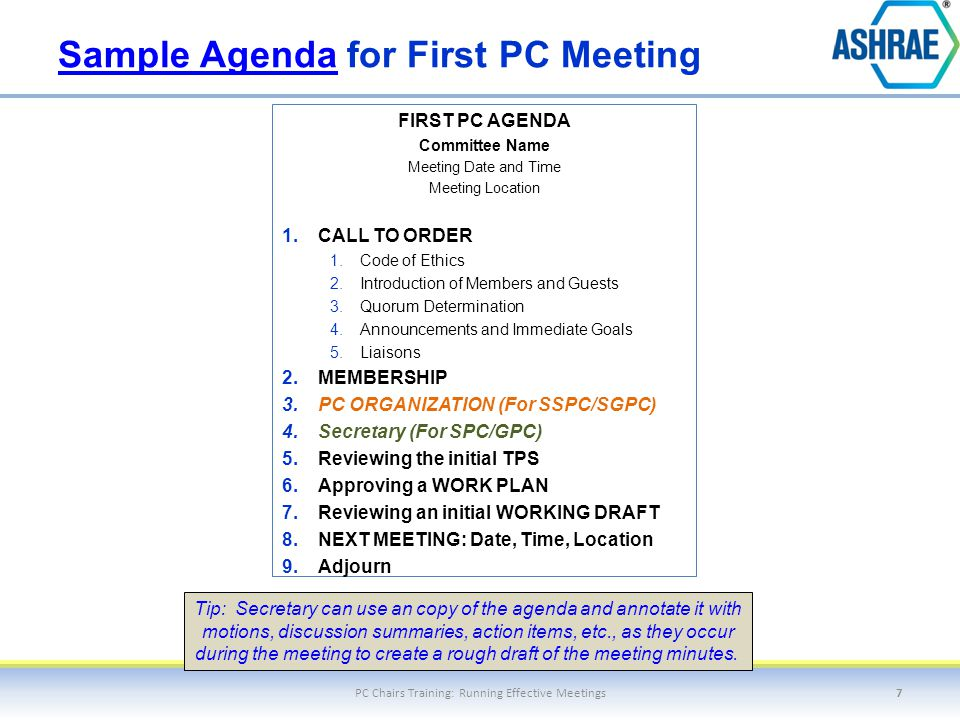 Sample AgendaSample Agenda for First PC Meeting FIRST PC AGENDA Committee Name Meeting Date and Time Meeting Location 1. CALL TO ORDER 1. Code of Ethi
