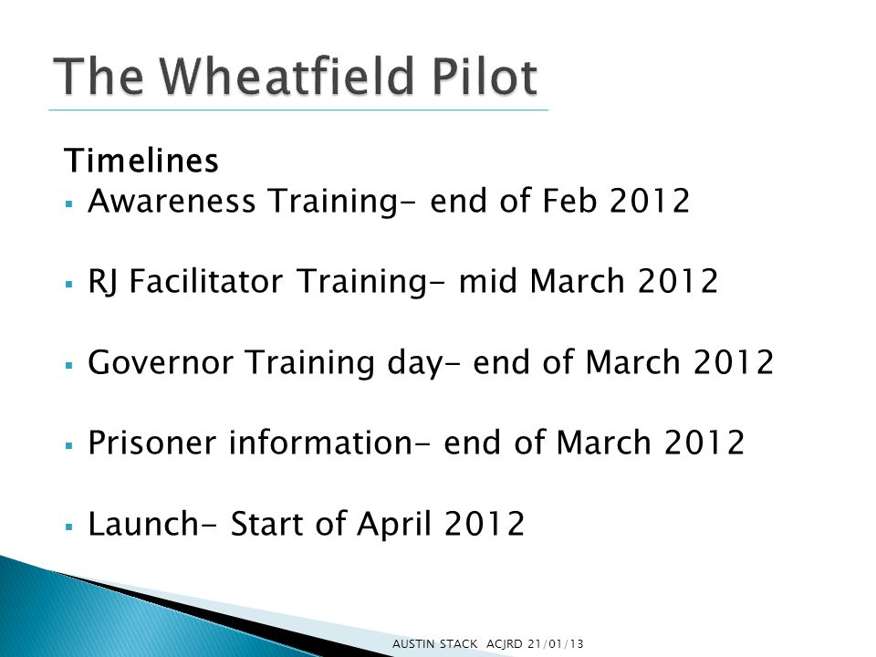 Timelines  Awareness Training- end of Feb 2012  RJ Facilitator Training- mid March 2012  Governor Training day- end of March 2012  Prisoner information- end of March 2012  Launch- Start of April 2012 AUSTIN STACK ACJRD 21/01/13