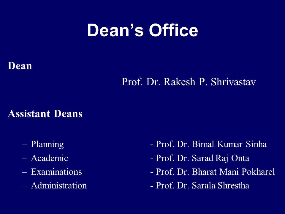 Dean Prof. Dr. Rakesh P. Shrivastav Assistant Deans –Planning - Prof.