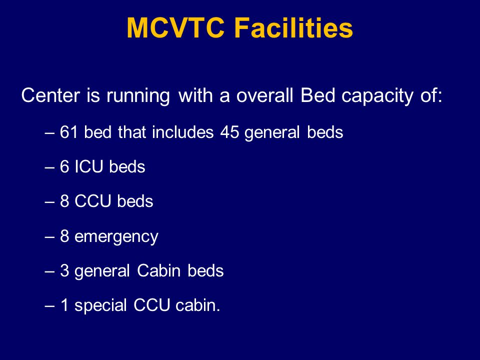 Center is running with a overall Bed capacity of: –61 bed that includes 45 general beds –6 ICU beds –8 CCU beds –8 emergency –3 general Cabin beds –1 special CCU cabin.
