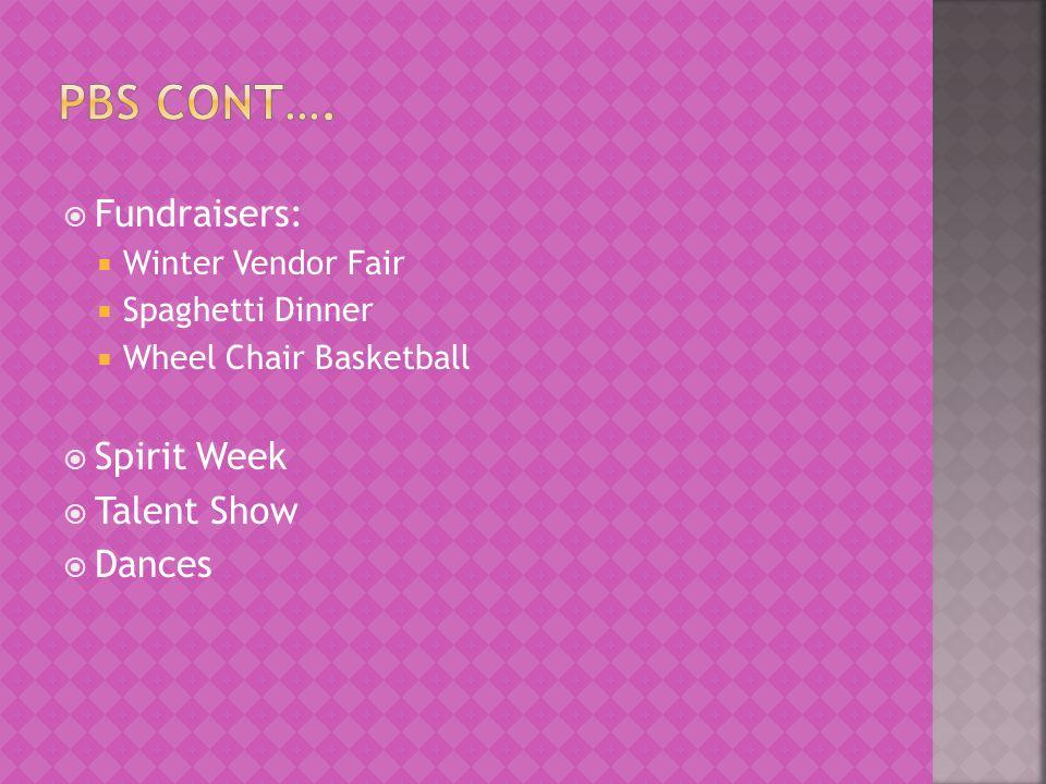  Fundraisers:  Winter Vendor Fair  Spaghetti Dinner  Wheel Chair Basketball  Spirit Week  Talent Show  Dances