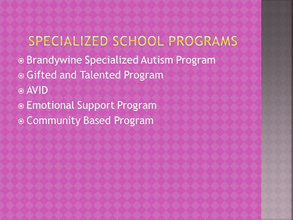  Brandywine Specialized Autism Program  Gifted and Talented Program  AVID  Emotional Support Program  Community Based Program