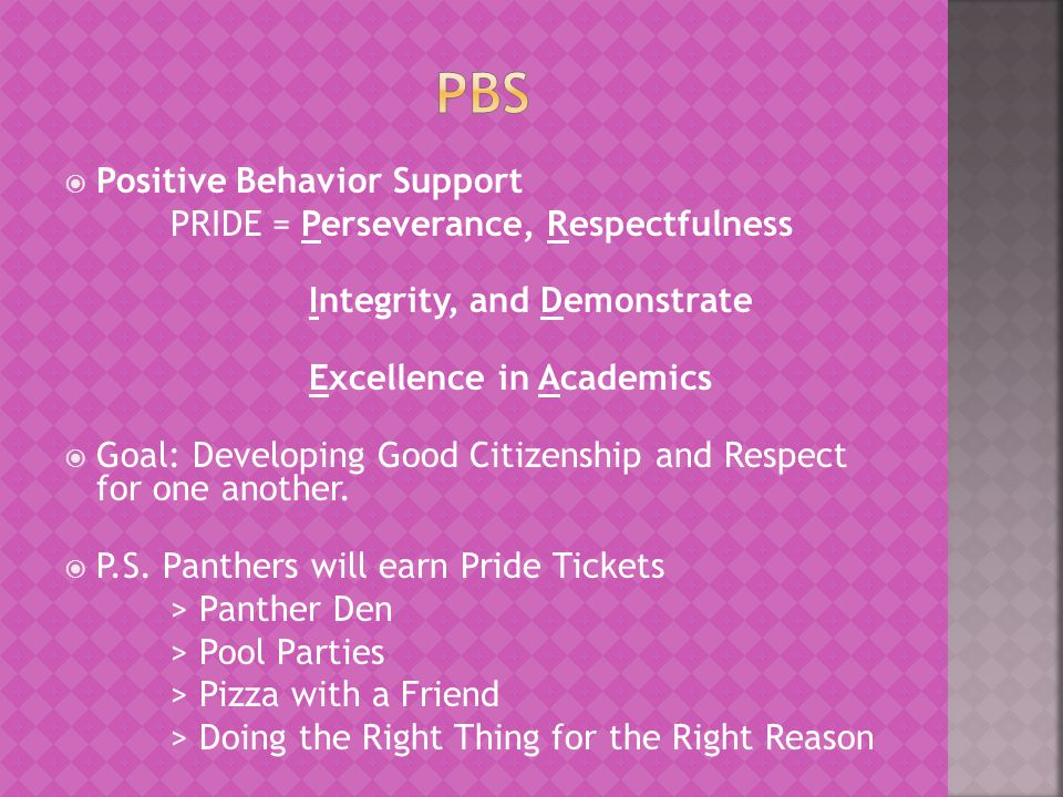  Positive Behavior Support PRIDE = Perseverance, Respectfulness Integrity, and Demonstrate Excellence in Academics  Goal: Developing Good Citizenship and Respect for one another.