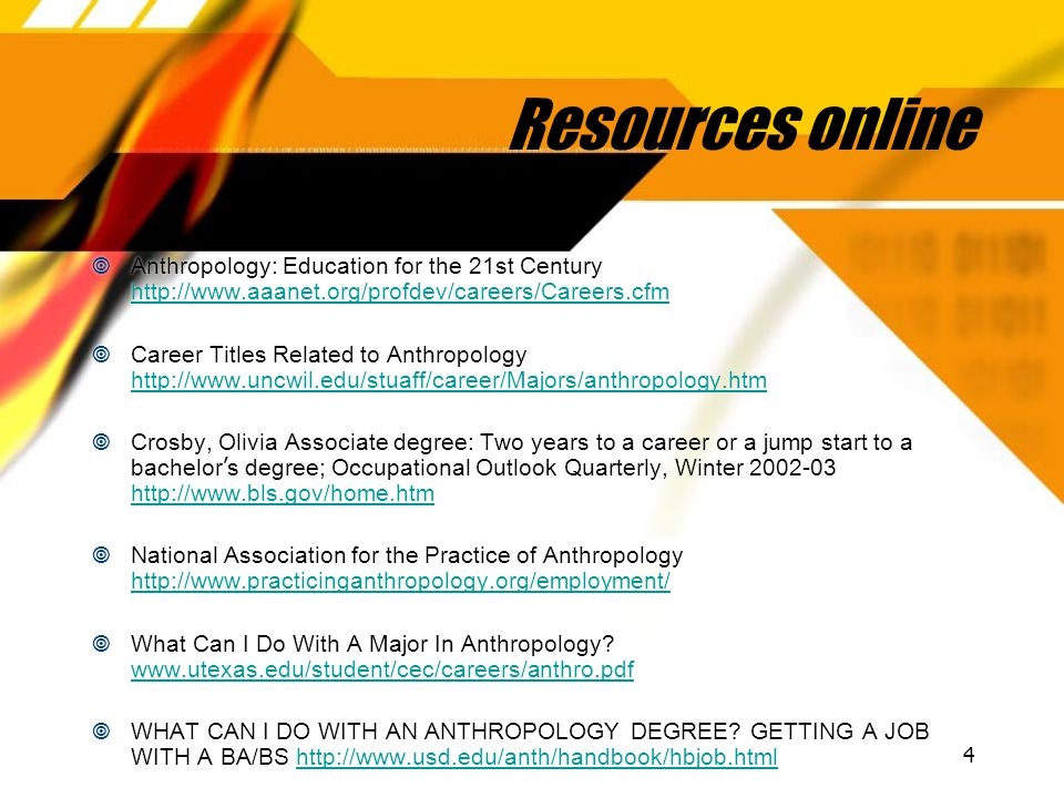 4 Resources online  Anthropology: Education for the 21st Century http://www.aaanet.org/profdev/careers/Careers.cfm http://www.aaanet.org/profdev/care