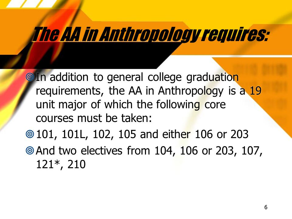 6 The AA in Anthropology requires:  In addition to general college graduation requirements, the AA in Anthropology is a 19 unit major of which the following core courses must be taken:  101, 101L, 102, 105 and either 106 or 203  And two electives from 104, 106 or 203, 107, 121*, 210  In addition to general college graduation requirements, the AA in Anthropology is a 19 unit major of which the following core courses must be taken:  101, 101L, 102, 105 and either 106 or 203  And two electives from 104, 106 or 203, 107, 121*, 210