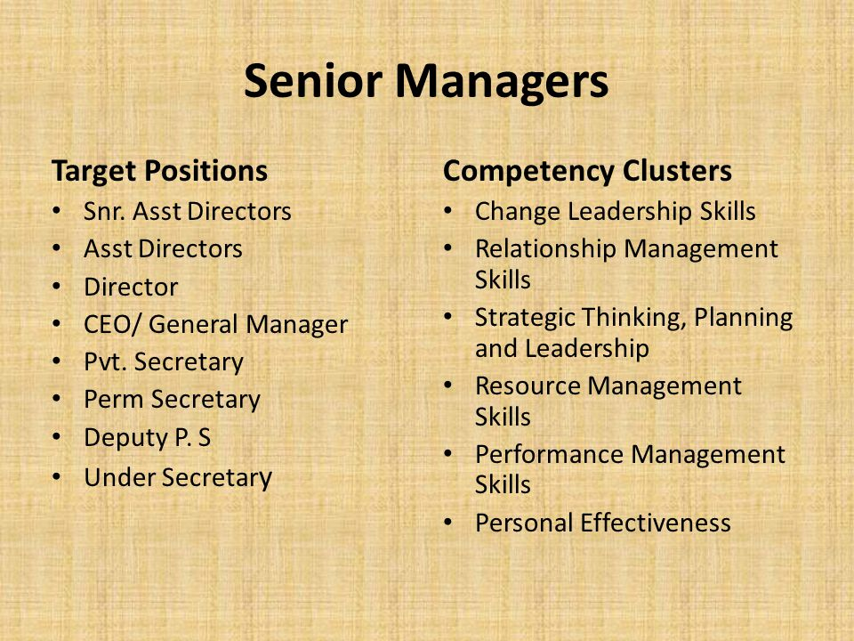 Middle Managers Professional Staff General Administrative Staff Technical Staff Artisan Staff Competency Clusters Strategic Management and Leadership Skills Communication Skills Interpersonal Skills Information Technology Skills Research and Statistical Skills Managerial Skills Personal Effectiveness
