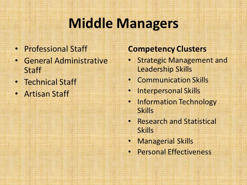 Middle Managers Professional Staff General Administrative Staff Technical Staff Artisan Staff Competency Clusters Strategic Management and Leadership
