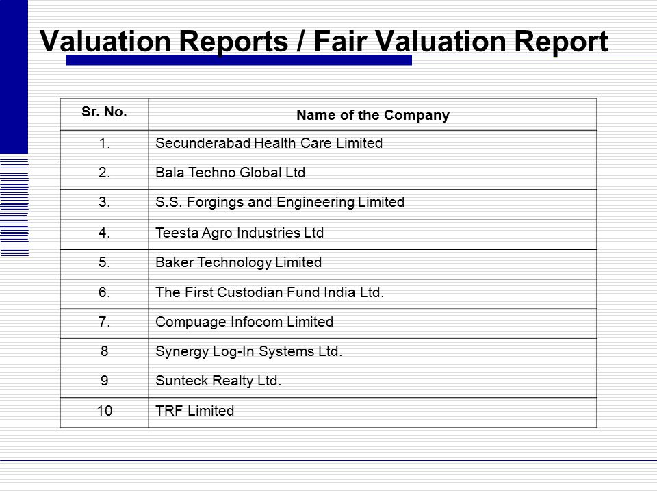 Valuation Reports / Fair Valuation Report Sr. No. Name of the Company 1.Secunderabad Health Care Limited 2.Bala Techno Global Ltd 3.S.S. Forgings and