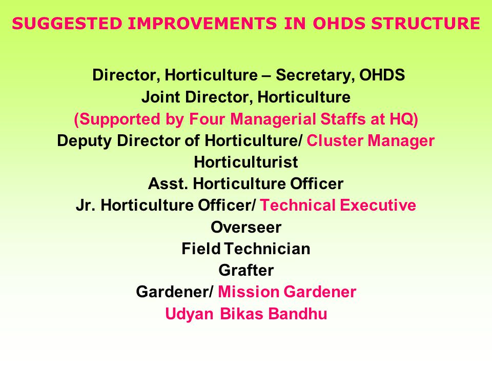SUGGESTED IMPROVEMENTS IN OHDS STRUCTURE Director, Horticulture – Secretary, OHDS Joint Director, Horticulture (Supported by Four Managerial Staffs at HQ) Deputy Director of Horticulture/ Cluster Manager Horticulturist Asst.
