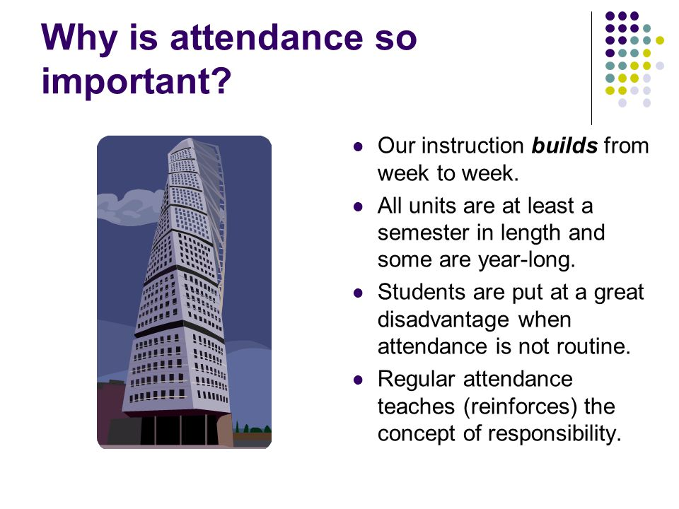 Why is attendance so important. Our instruction builds from week to week.