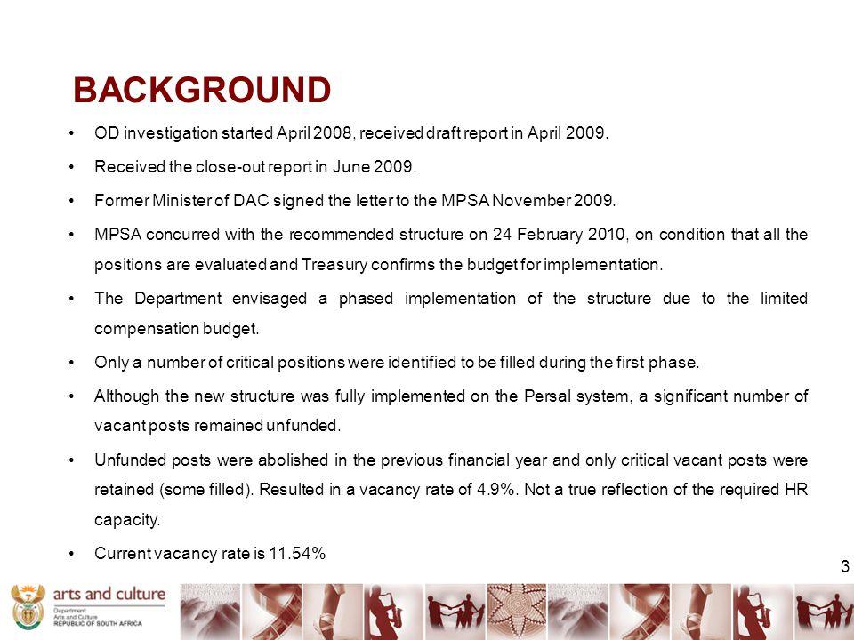 BACKGROUND OD investigation started April 2008, received draft report in April 2009.