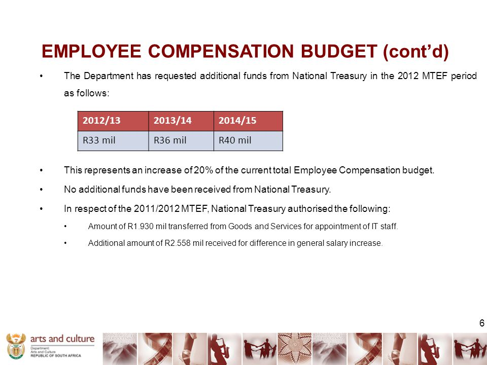 EMPLOYEE COMPENSATION BUDGET (cont'd) 6 The Department has requested additional funds from National Treasury in the 2012 MTEF period as follows: This represents an increase of 20% of the current total Employee Compensation budget.