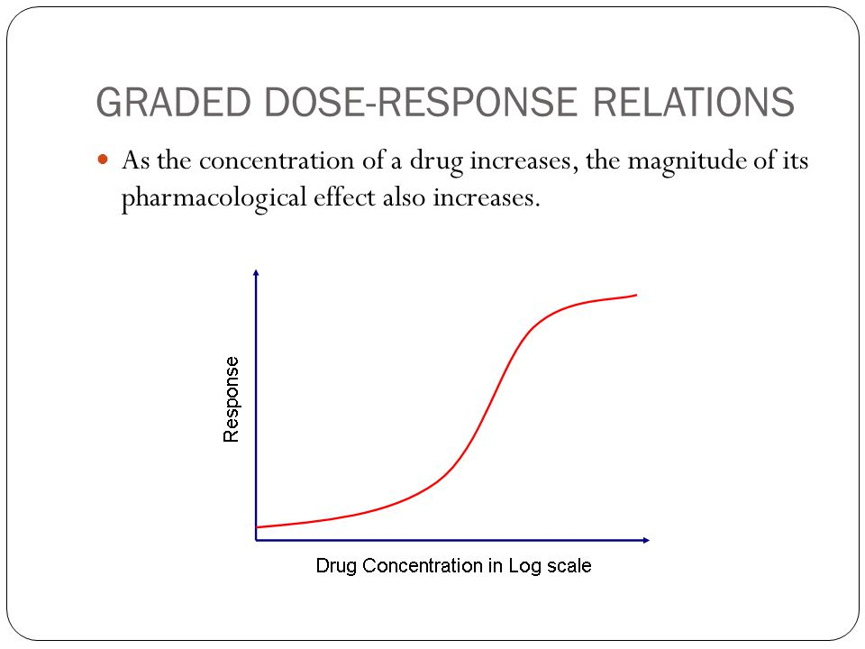 GRADED DOSE-RESPONSE RELATIONS As the concentration of a drug increases, the magnitude of its pharmacological effect also increases.