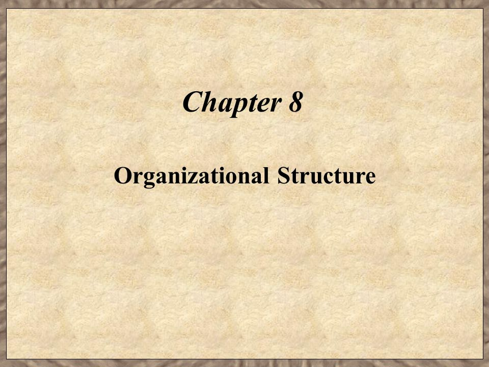 Chapter 8 Organizational Structure