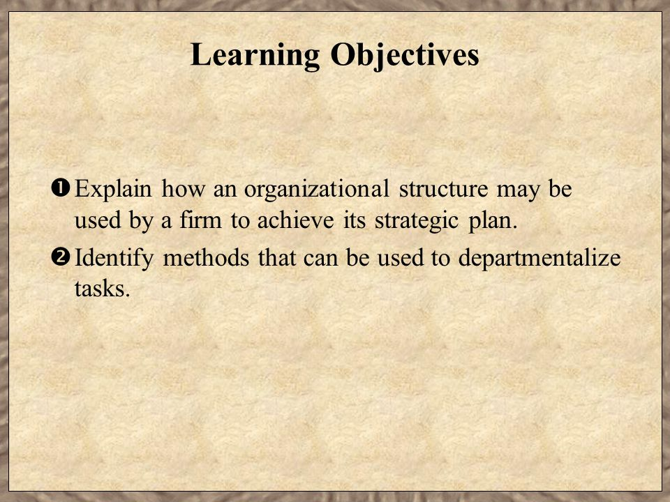 Learning Objectives  Explain how an organizational structure may be used by a firm to achieve its strategic plan.