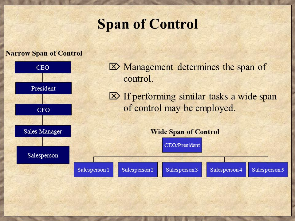 Span of Control Wide Span of Control Narrow Span of Control  Management determines the span of control.