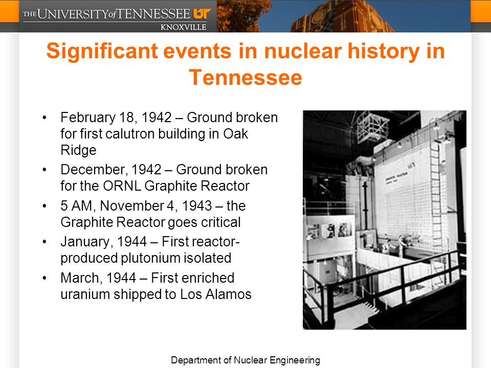 Department of Nuclear Engineering Significant events in nuclear history in Tennessee February 18, 1942 – Ground broken for first calutron building in Oak Ridge December, 1942 – Ground broken for the ORNL Graphite Reactor 5 AM, November 4, 1943 – the Graphite Reactor goes critical January, 1944 – First reactor- produced plutonium isolated March, 1944 – First enriched uranium shipped to Los Alamos