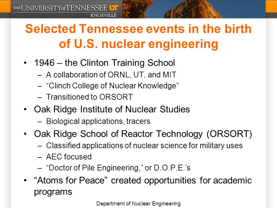 Department of Nuclear Engineering Selected Tennessee events in the birth of U.S.