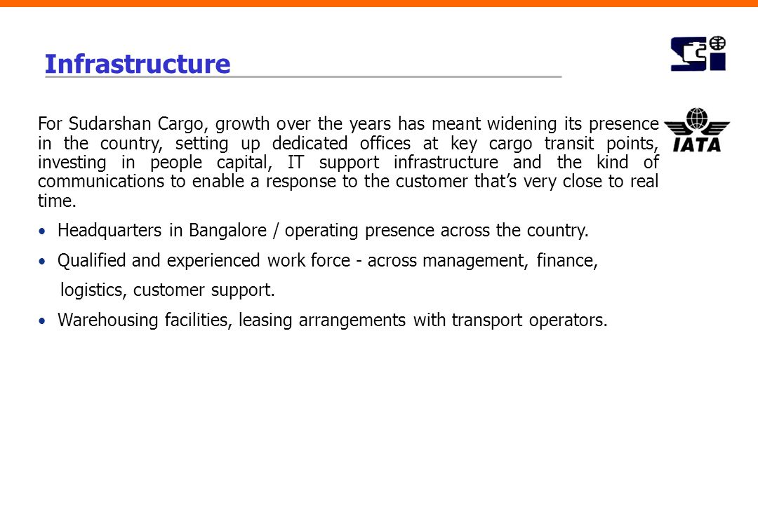 Infrastructure For Sudarshan Cargo, growth over the years has meant widening its presence in the country, setting up dedicated offices at key cargo tr