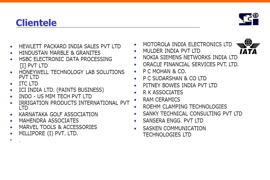 Clientele HEWLETT PACKARD INDIA SALES PVT LTD HINDUSTAN MARBLE & GRANITES HSBC ELECTRONIC DATA PROCESSING [I] PVT LTD HONEYWELL TECHNOLOGY LAB SOLUTIO