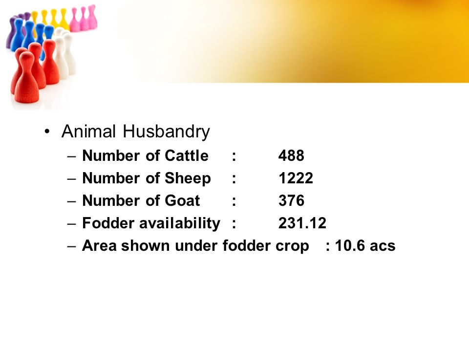 Animal Husbandry –Number of Cattle:488 –Number of Sheep:1222 –Number of Goat:376 –Fodder availability:231.12 –Area shown under fodder crop: 10.6 acs