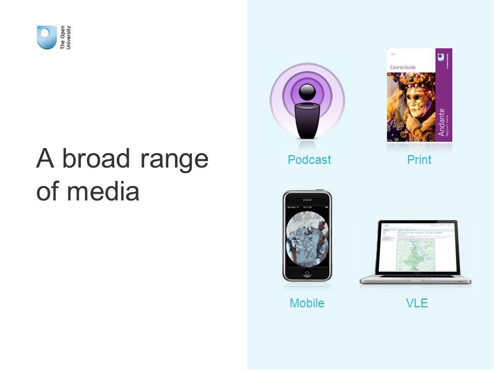 A broad range of media Mobile Print VLE Podcast