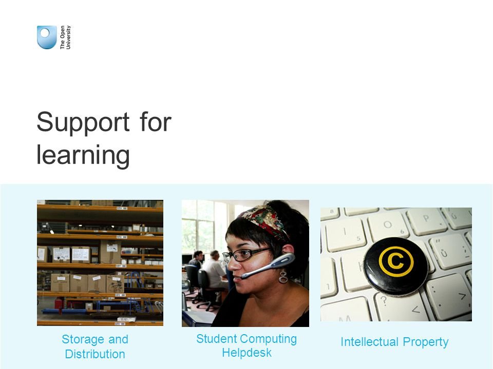 Support for learning Storage and Distribution Student Computing Helpdesk Intellectual Property