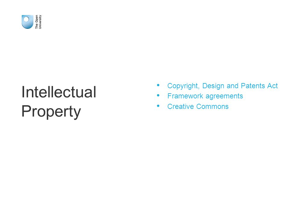 Copyright, Design and Patents Act Framework agreements Creative Commons