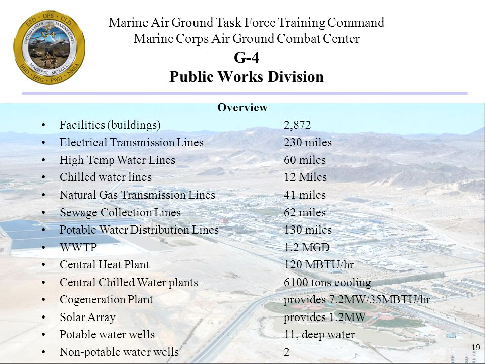 Marine Air Ground Task Force Training Command Marine Corps Air Ground Combat Center 19 G-4 Public Works Division Overview Facilities (buildings)2,872