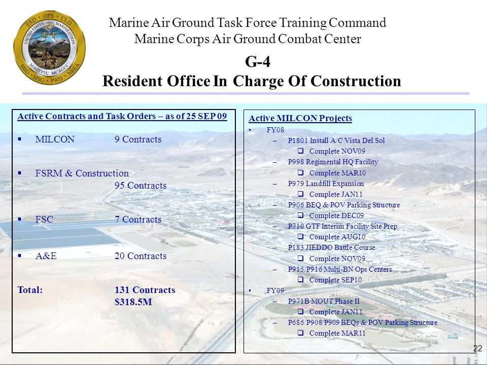 Marine Air Ground Task Force Training Command Marine Corps Air Ground Combat Center 22 G-4 Resident Office In Charge Of Construction Active Contracts