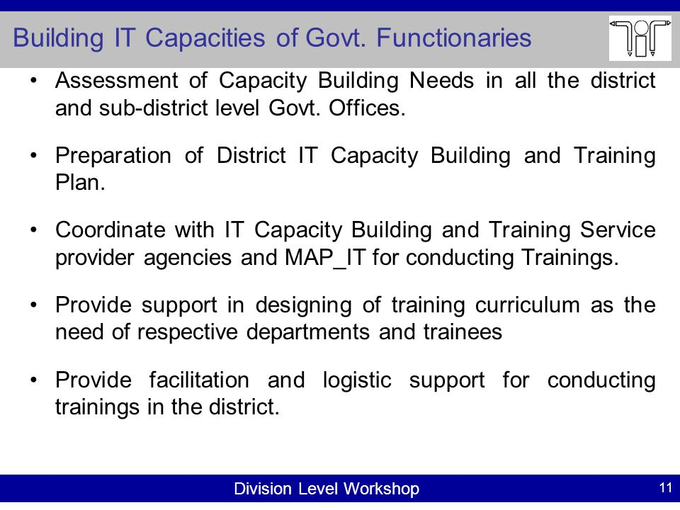 Division Level Workshop Building IT Capacities of Govt.