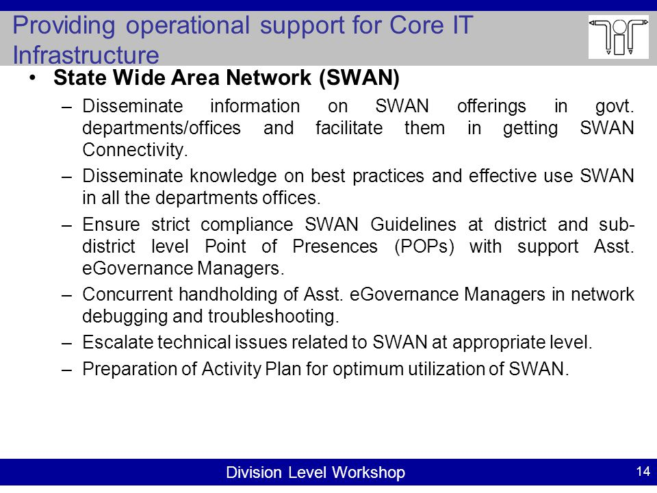 Division Level Workshop Providing operational support for Core IT Infrastructure 14 State Wide Area Network (SWAN) –Disseminate information on SWAN offerings in govt.