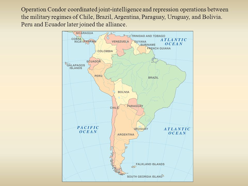 Operation Condor coordinated joint-intelligence and repression operations between the military regimes of Chile, Brazil, Argentina, Paraguay, Uruguay, and Bolivia.
