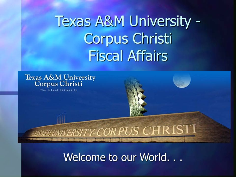 Welcome to our World... Texas A&M University - Corpus Christi Fiscal Affairs