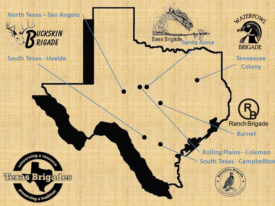 Bass Brigade Santa Anna North Texas – San Angelo South Texas - Uvalde Rolling Plains - Coleman South Texas - Campbellton Tennessee Colony Burnet