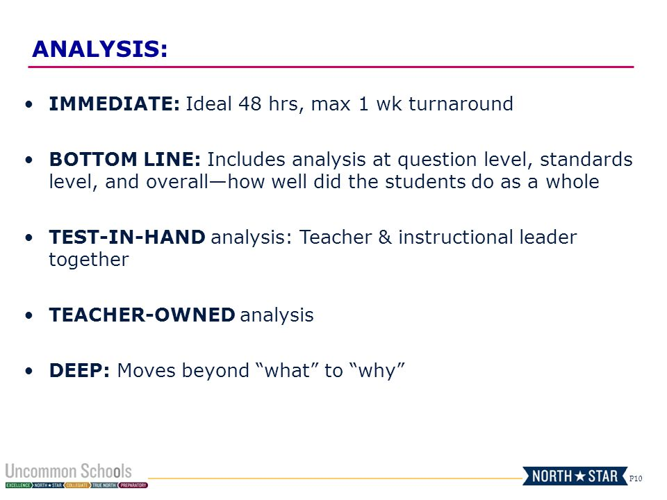 P10 IMMEDIATE: Ideal 48 hrs, max 1 wk turnaround BOTTOM LINE: Includes analysis at question level, standards level, and overall—how well did the students do as a whole TEST-IN-HAND analysis: Teacher & instructional leader together TEACHER-OWNED analysis DEEP: Moves beyond what to why ANALYSIS: