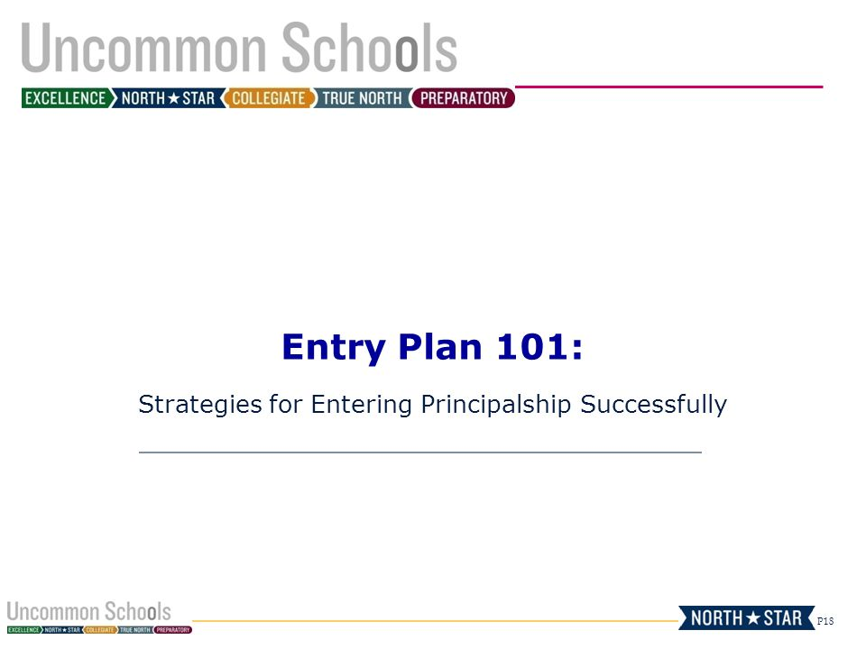 P18 Entry Plan 101: Strategies for Entering Principalship Successfully