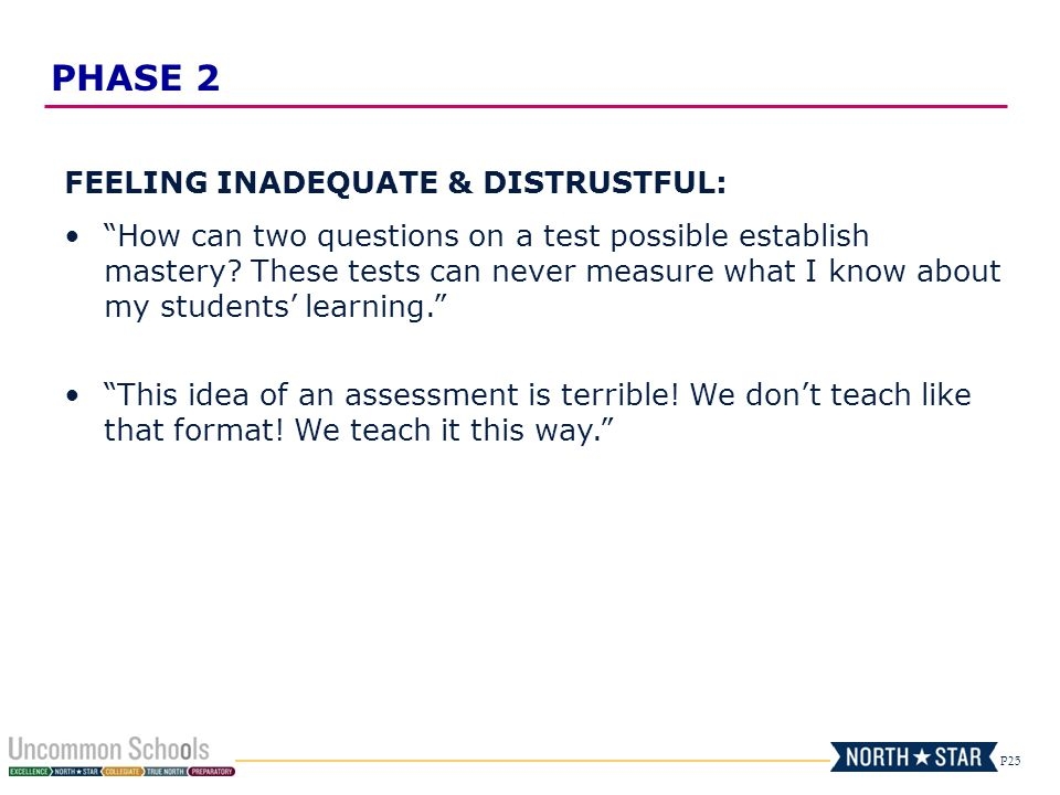 P25 FEELING INADEQUATE & DISTRUSTFUL: How can two questions on a test possible establish mastery.