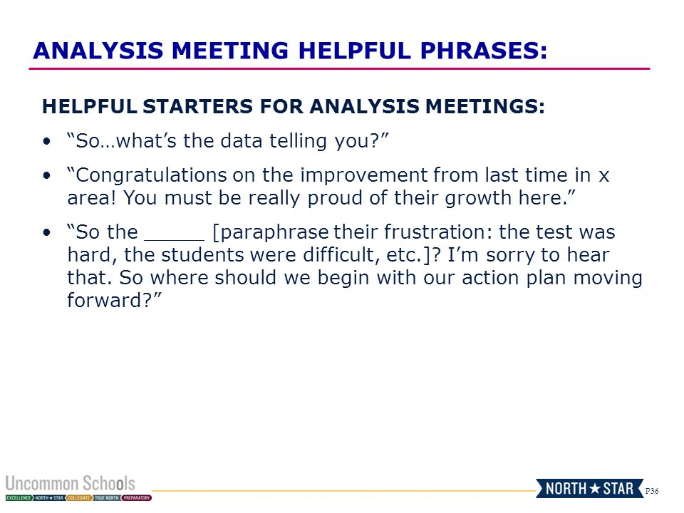 P36 HELPFUL STARTERS FOR ANALYSIS MEETINGS: So…what's the data telling you Congratulations on the improvement from last time in x area.