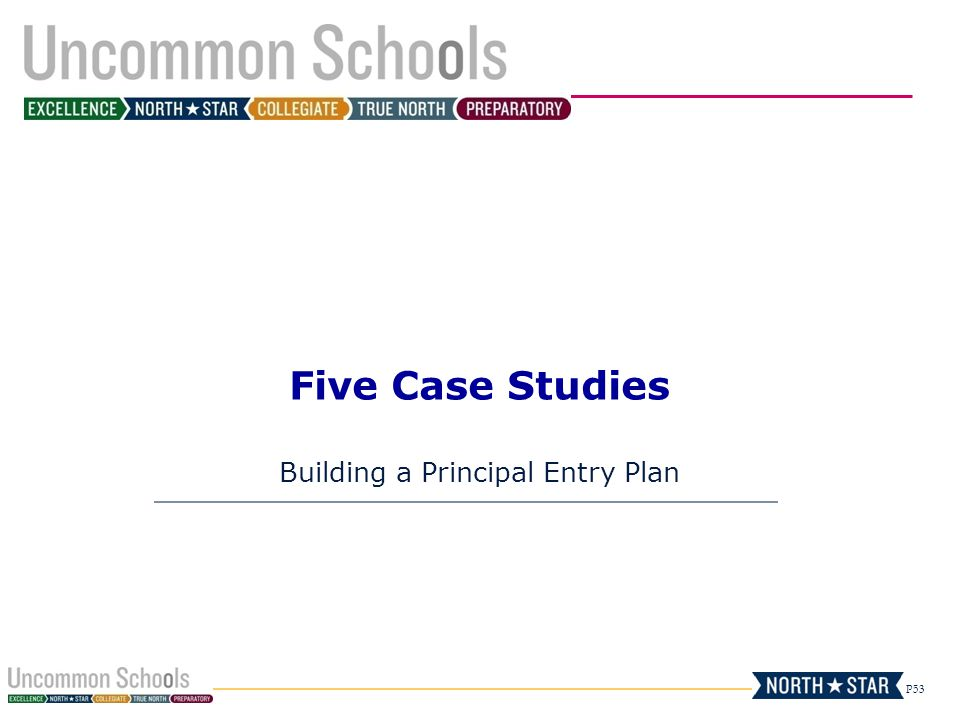 P53 Five Case Studies Building a Principal Entry Plan