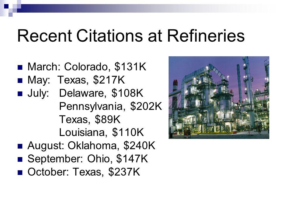Recent Citations at Refineries March: Colorado, $131K May: Texas, $217K July: Delaware, $108K Pennsylvania, $202K Texas, $89K Louisiana, $110K August: Oklahoma, $240K September: Ohio, $147K October: Texas, $237K
