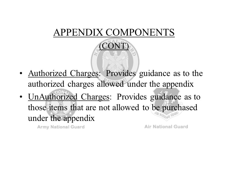 Appointed IAW NGR 130-6, Chapter 2, para 2-3, in writing with the TAG/Commander's concurrence Responsible technically and militarily to their Commander or TAG (Title 32) There is a FIDUCIARY LINK between the USPFO and Assistant USPFOs for statutory and regulatory management of their programs ASSISTANT USPFOs