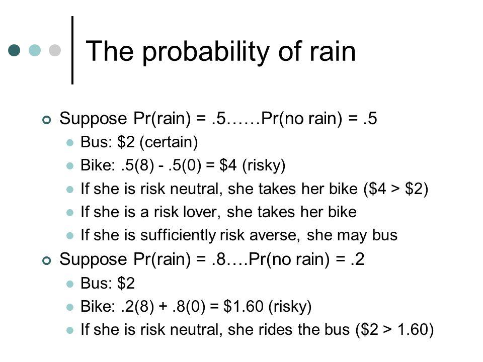 The probability of rain Suppose Pr(rain) =.5……Pr(no rain) =.5 Bus: $2 (certain) Bike:.5(8) -.5(0) = $4 (risky) If she is risk neutral, she takes her b