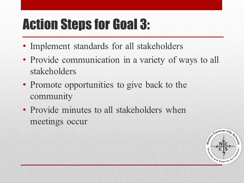 Action Steps for Goal 3: Implement standards for all stakeholders Provide communication in a variety of ways to all stakeholders Promote opportunities to give back to the community Provide minutes to all stakeholders when meetings occur