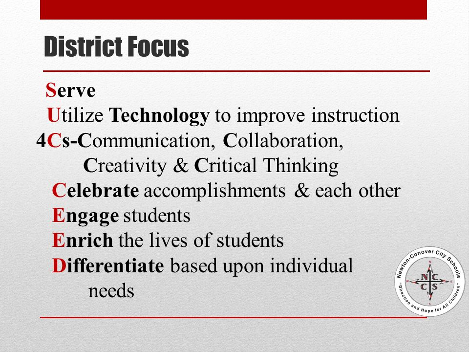 Serve Utilize Technology to improve instruction 4Cs-Communication, Collaboration, Creativity & Critical Thinking Celebrate accomplishments & each other Engage students Enrich the lives of students Differentiate based upon individual needs District Focus