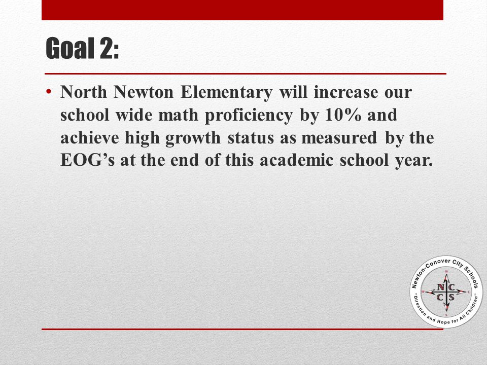 Goal 2: North Newton Elementary will increase our school wide math proficiency by 10% and achieve high growth status as measured by the EOG's at the end of this academic school year.