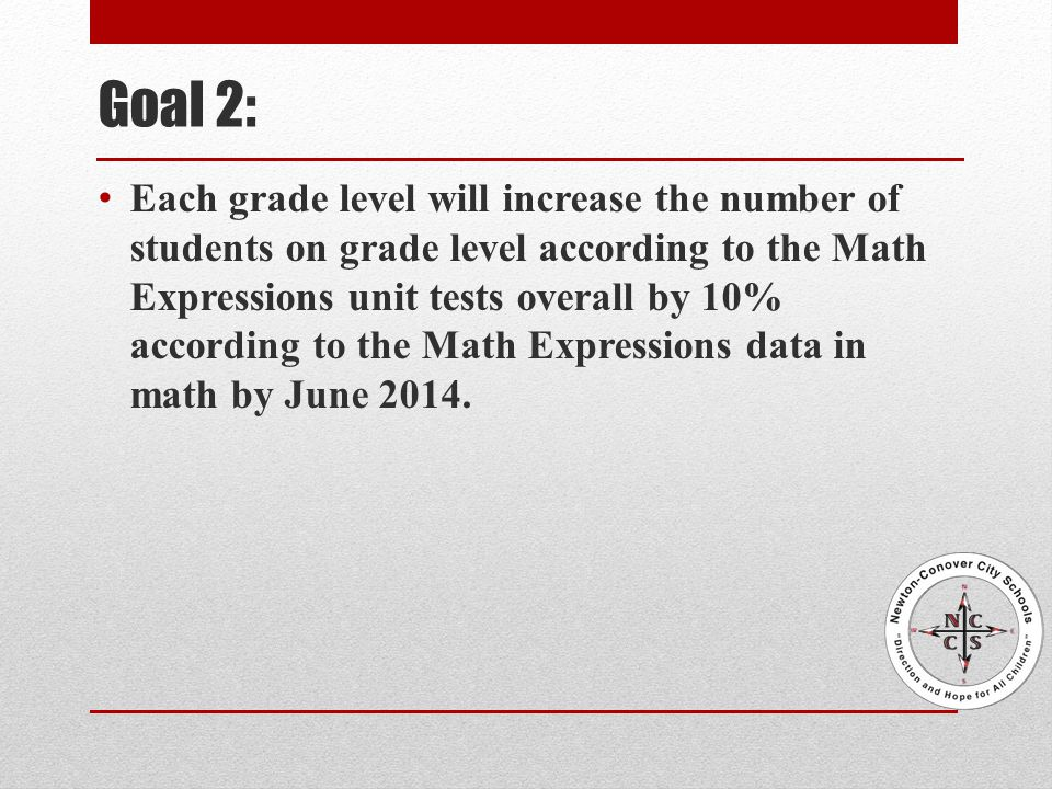 Goal 2: Each grade level will increase the number of students on grade level according to the Math Expressions unit tests overall by 10% according to the Math Expressions data in math by June 2014.