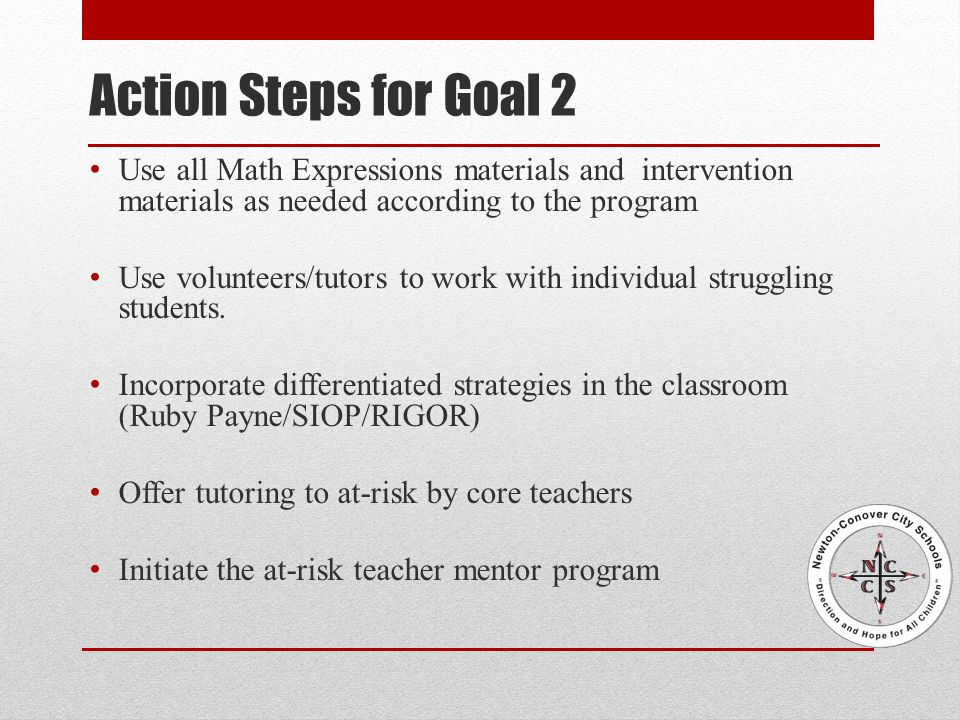 Action Steps for Goal 2 Use all Math Expressions materials and intervention materials as needed according to the program Use volunteers/tutors to work with individual struggling students.